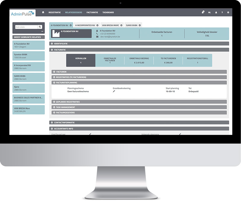 Relatiebeheer AdminPulse software kantoorbeheer accountants cloudsolution