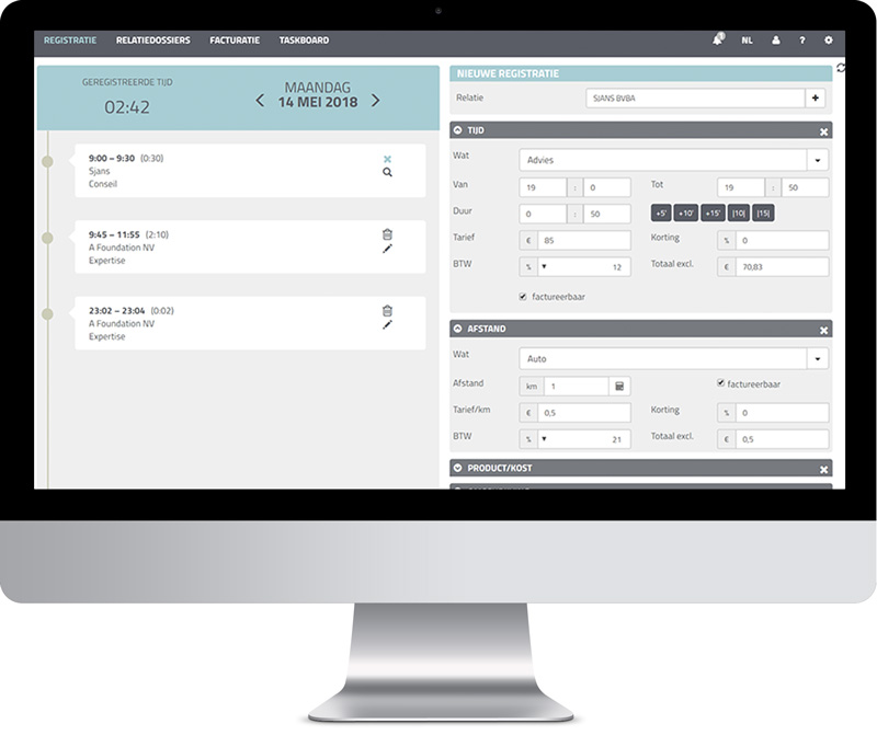 Time registration AdminPulse software office management accountants cloudsolution